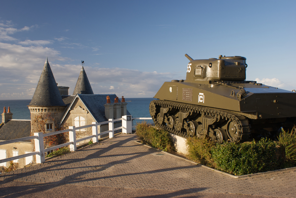 Sherman tank overlooking the Normandy coast