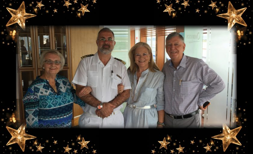 Helen Ross, Silversea Captain Samuele Faille, Liz Cosier, John Ross - aboard Silver Shadow